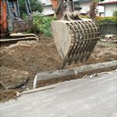 写真:ブロック塀一部解体撤去